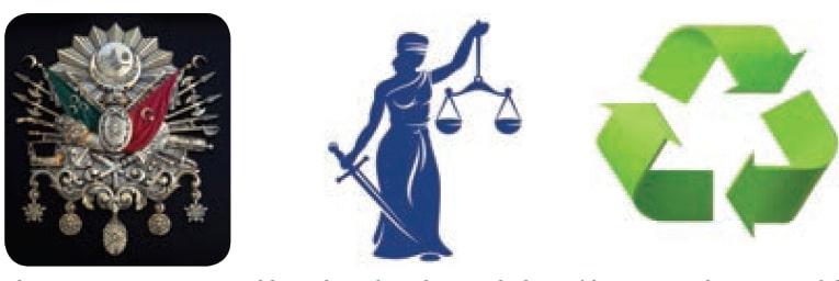 Düşünmenin temel birimlerinden olan sembol örnekleri. Osmanlı arması, adaletin ve geri dönüşümün sembolü